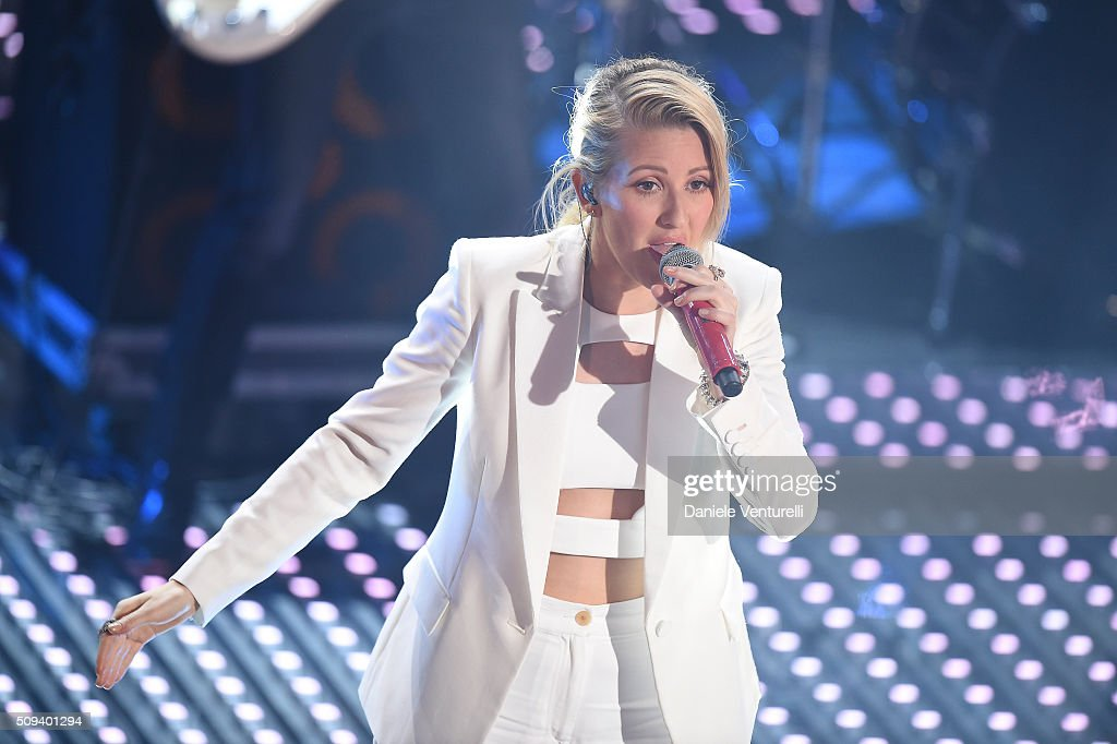 <a gi-track='captionPersonalityLinkClicked' href=/galleries/search?phrase=Ellie+Goulding&family=editorial&specificpeople=6389309 ng-click='$event.stopPropagation()'>Ellie Goulding</a> attends second night of the 66th Festival di Sanremo 2016 at Teatro Ariston on February 10, 2016 in Sanremo, Italy.
