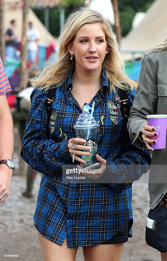 Ellie Goulding attends the Glastonbury Festival at Worthy Farm, Pilton on June 25, 2016 in Glastonbury, England.