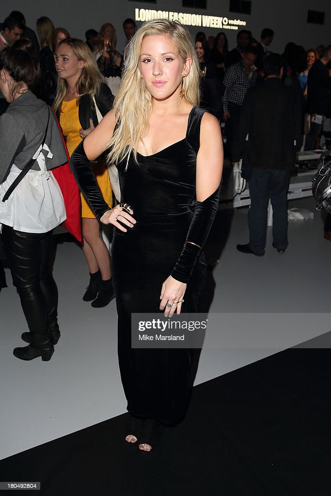 <a gi-track='captionPersonalityLinkClicked' href=/galleries/search?phrase=Ellie+Goulding&family=editorial&specificpeople=6389309 ng-click='$event.stopPropagation()'>Ellie Goulding</a> attends the PPQ show during London Fashion Week SS14 at BFC Courtyard Showspace on September 13, 2013 in London, England.