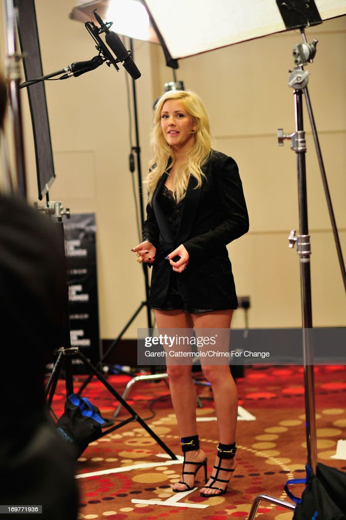 <a gi-track='captionPersonalityLinkClicked' href=/galleries/search?phrase=Ellie+Goulding&family=editorial&specificpeople=6389309 ng-click='$event.stopPropagation()'>Ellie Goulding</a> backstage, behind the scenes at the 'Chime For Change: The Sound Of Change Live' Concert at Twickenham Stadium on June 1, 2013 in London, England. Chime For Change is a global campaign for girls' and women's empowerment founded by Gucci with a founding committee comprised of Gucci Creative Director Frida Giannini, Salma Hayek Pinault and Beyonce Knowles-Carter.
