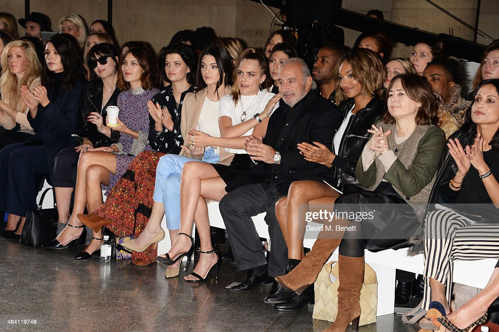 Ellie Goulding, Jessie Ware, Daisy Lowe, Alexa Chung, Pixie Geldof, Kendall Jenner, Cara Delevingne, Sir Philip Green, Jourdan Dunn and Alexandra Shulman attend the Topshop Unique show during London Fashion Week Fall/Winter 2015/16 at Tate Britain on February 22, 2015 in London, England.