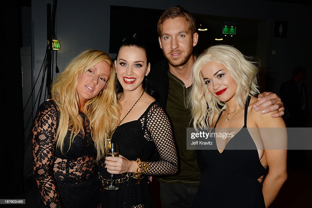 <a gi-track='captionPersonalityLinkClicked' href=/galleries/search?phrase=Ellie+Goulding&family=editorial&specificpeople=6389309 ng-click='$event.stopPropagation()'>Ellie Goulding</a>, <a gi-track='captionPersonalityLinkClicked' href=/galleries/search?phrase=Katy+Perry&family=editorial&specificpeople=599558 ng-click='$event.stopPropagation()'>Katy Perry</a>, <a gi-track='captionPersonalityLinkClicked' href=/galleries/search?phrase=Calvin+Harris&family=editorial&specificpeople=4412722 ng-click='$event.stopPropagation()'>Calvin Harris</a> and <a gi-track='captionPersonalityLinkClicked' href=/galleries/search?phrase=Rita+Ora&family=editorial&specificpeople=5686485 ng-click='$event.stopPropagation()'>Rita Ora</a> pose backstage during the MTV EMA's 2013 at the Ziggo Dome on November 10, 2013 in Amsterdam, Netherlands.