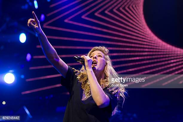 Ellie Goulding performs at TD Banknorth Garden during the KISS 108 iHeartRadio Jingle Ball presented by Capital One on December 11 2016 in Boston...