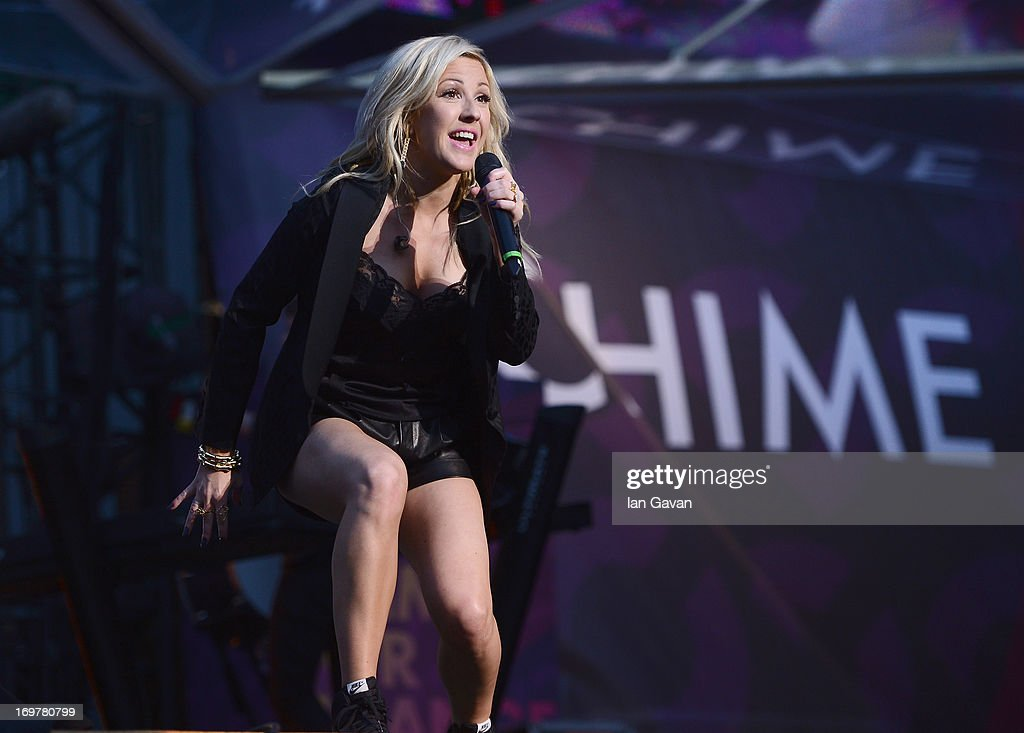 <a gi-track='captionPersonalityLinkClicked' href=/galleries/search?phrase=Ellie+Goulding&family=editorial&specificpeople=6389309 ng-click='$event.stopPropagation()'>Ellie Goulding</a> performs on stage at the 'Chime For Change: The Sound Of Change Live' Concert at Twickenham Stadium on June 1, 2013 in London, England. Chime For Change is a global campaign for girls' and women's empowerment founded by Gucci with a founding committee comprised of Gucci Creative Director Frida Giannini, Salma Hayek Pinault and Beyonce Knowles-Carter.