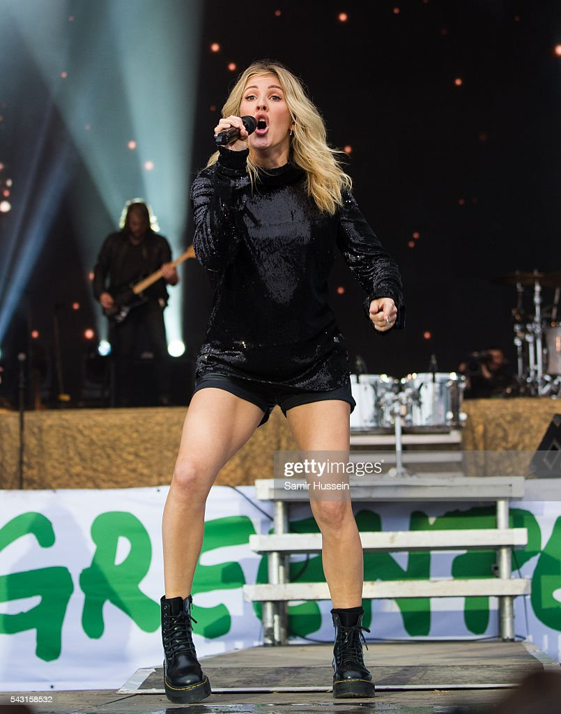 Ellie Goulding performs on the Pyramid Stage at Glastonbury Festival 2016 at Worthy Farm, Pilton on June 26, 2016 in Glastonbury, England.