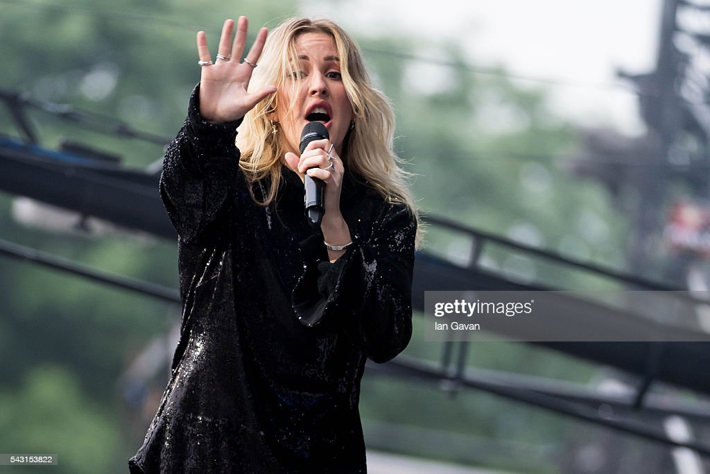 <a gi-track='captionPersonalityLinkClicked' href=/galleries/search?phrase=Ellie+Goulding&family=editorial&specificpeople=6389309 ng-click='$event.stopPropagation()'>Ellie Goulding</a> performs on the Pyramid Stage on day 2 of the Glastonbury Festival at Worthy Farm, Pilton on June 26, 2016 in Glastonbury, England. Now its 46th year the festival is one largest music festivals in the world and this year features headline acts Muse, Adele and Coldplay. The Festival, which Michael Eavis started in 1970 when several hundred hippies paid just £1, now attracts more than 175,000 people.