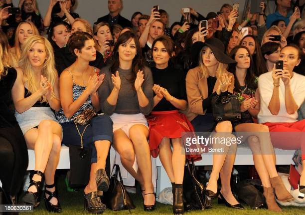 Ellie Goulding Pixie Geldof Daisy Lowe Samantha Barks Suki Waterhouse Kaya Scodelario and Ashley Madekwe attend the Unique SS14 runway show during...