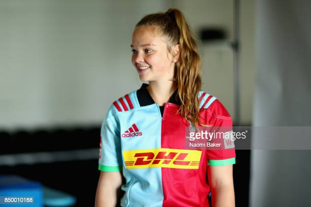 Ellie Green poses for a portrait during the Harlequins Ladies Squad Photo call for the 2017/18 Tyrrells Premier 15s Season at Surrey Sports Park on...