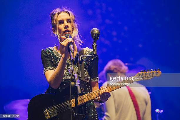 Ellie Rowsell of Wolf Alice performs on the NME Radio 1 stage during day 3 of Leeds Festival at Bramham Park on August 30 2015 in Leeds England