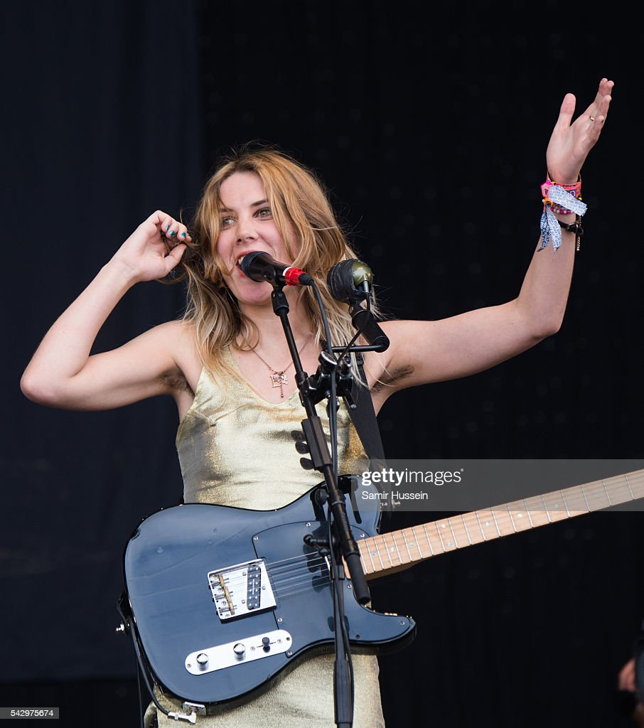 Ellie Rowsell of Wolf Alice performs on the Pyramid Stage at Glastonbury Festival 2016 at Worthy Farm, Pilton on June 25, 2016 in Glastonbury, England.