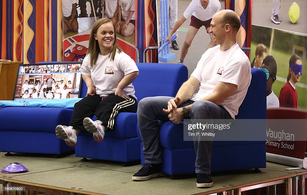 Ellie Simmonds and Matt Dawson visiting Vaughan Primary School in Harrow as part of Sainsbury's Active Kids 2013 scheme, an initiative set up by the supermarket to encourage school children to live a healthier and more active lifestyle on February 7, 2013 in London, United Kingdom.