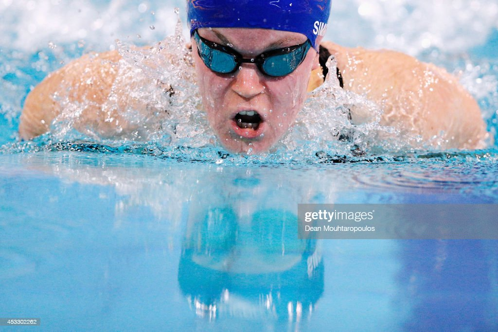 Ellie Simmonds of Great Britain on her way to winning the gold medal in the Women's 200m Individual Medley SM6 Final during day four of the IPC Swimming European Championships held at Pieter van den Hoogenband Swimming Stadium on August 7, 2014 in Eindhoven, Netherlands.