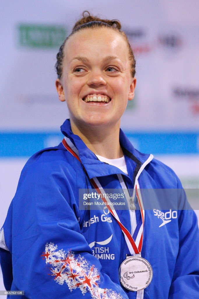 Ellie Simmonds of Great Britain poses with her silver medal after her 2nd place in the Women's 50m Freestyle S6 Final during the IPC Swimming European Championships held at the Pieter van den Hoogenband Swimming Stadium on August 6, 2014 in Eindhoven, Netherlands.