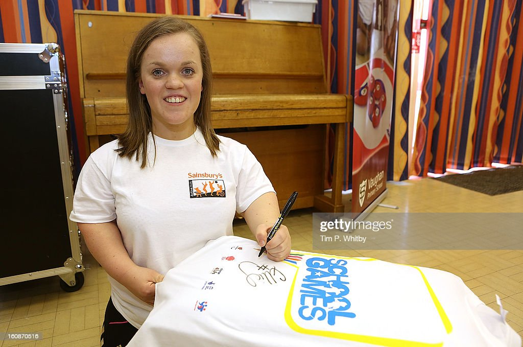 Ellie Simmonds visiting Vaughan Primary School in Harrow as part of Sainsbury's Active Kids 2013 scheme, an initiative set up by the supermarket to encourage school children to live a healthier and more active lifestyle on February 7, 2013 in London, United Kingdom.