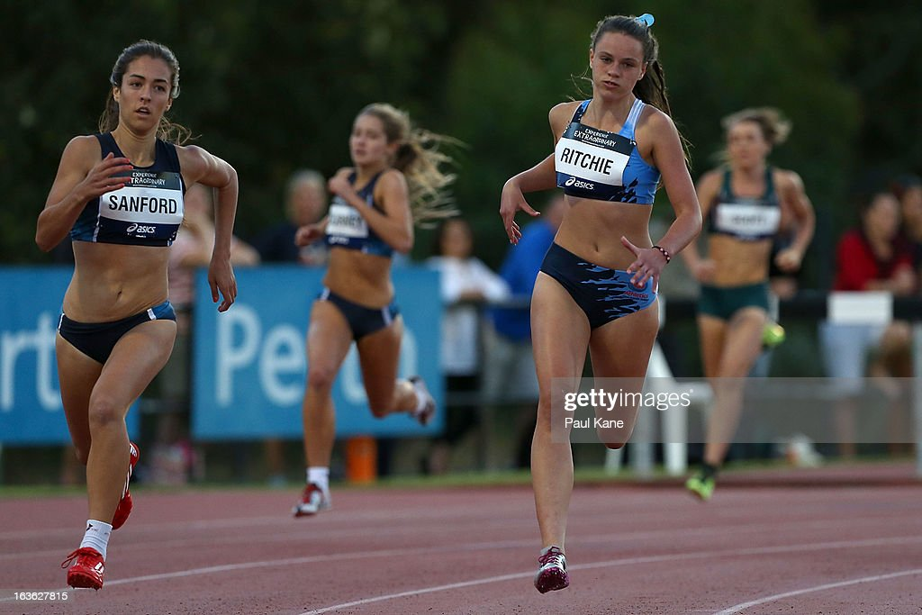 Ellie Snaford of Victoria and Ruby Ritchie of New South Wales compete in the women's u17 400 metre final during day two of the Australian Junior Championships at the WA Athletics Stadium on March 13, 2013 in Perth, Australia.
