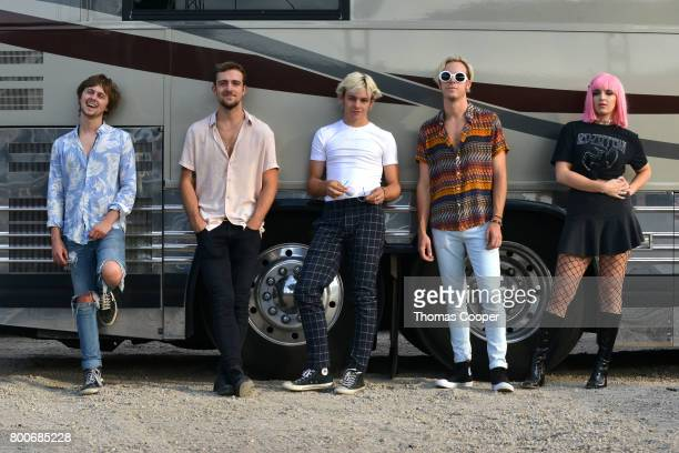 Ellington Ratliff Rocky Lynch Ross Lynch Riker Lynch and Rydel Lynch of the Pop Band R5 at Elitch Gardens on June 24 2017 in Denver Colorado