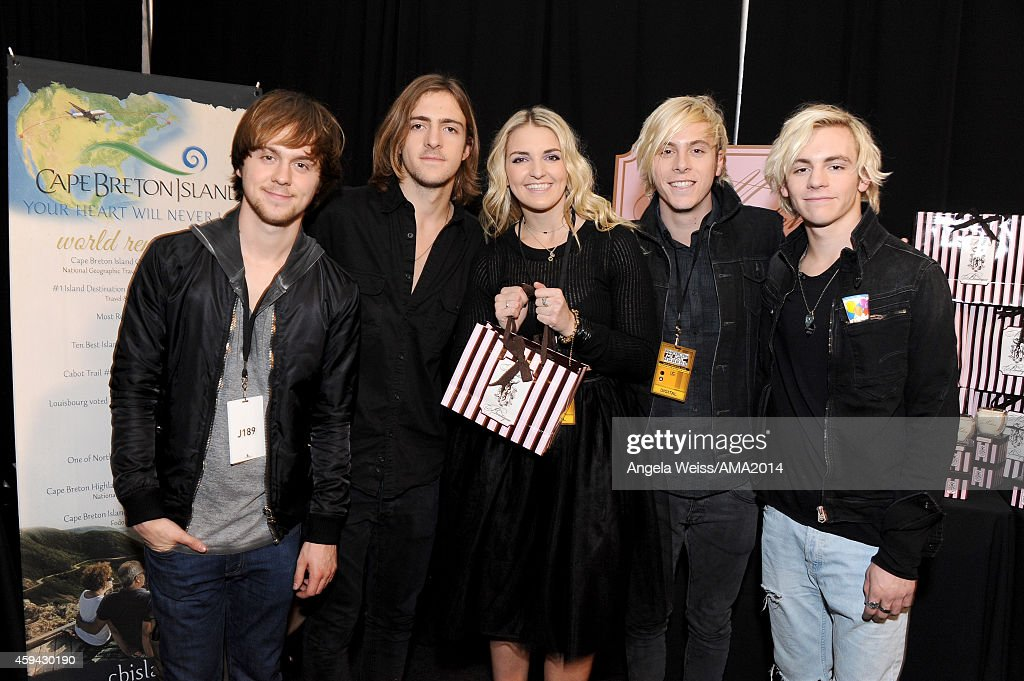 Ellington Ratliff, Rocky Lynch, Rydel Lynch, Riker Lynch, and Ross Lynch of R5 attend the 2014 American Music Awards UPS Gifting Suite at Nokia Theatre L.A. Live on November 22, 2014 in Los Angeles, California.