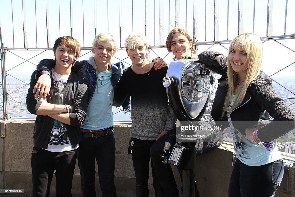 Ellington Ratliff, <a gi-track='captionPersonalityLinkClicked' href=/galleries/search?phrase=Ross+Lynch&family=editorial&specificpeople=4814597 ng-click='$event.stopPropagation()'>Ross Lynch</a>, Riker Lynch, Rocky Lynch and Rydel Lynch of R5 visit The Empire State Building on May 1, 2013 in New York City.