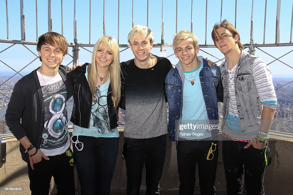 Ellington Ratliff, Rydel Lynch, Riker Lynch, <a gi-track='captionPersonalityLinkClicked' href=/galleries/search?phrase=Ross+Lynch&family=editorial&specificpeople=4814597 ng-click='$event.stopPropagation()'>Ross Lynch</a> and Rocky Lynch of R5 visit The Empire State Building on May 1, 2013 in New York City.