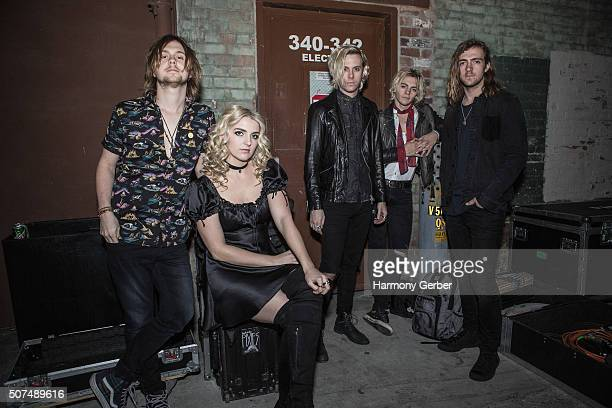 Ellington Ratliff Rydel Lynch Riker Lynch Ross Lynch and Rocky Lynch of R5 attend Fox Theater on January 29 2016 in Pomona California