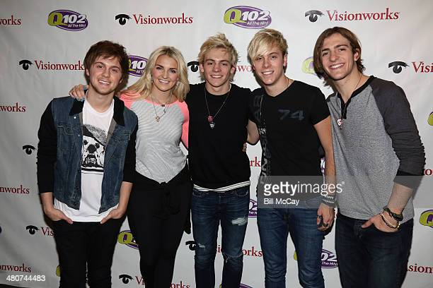 Ellington Ratliff Rydell Lynch Ross LynchRiker Lynch and Rocky Lynch of R5 pose at Radio 1045 Performance Theater March 26 2014 in Bala Cynwyd...