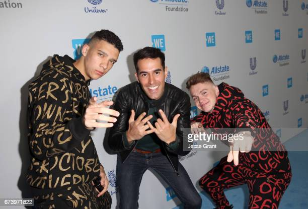 Elliot Crawford Daniel Fernandez and Joe Weller attend WE Day California to celebrate young people changing the world at The Forum on April 27 2017...