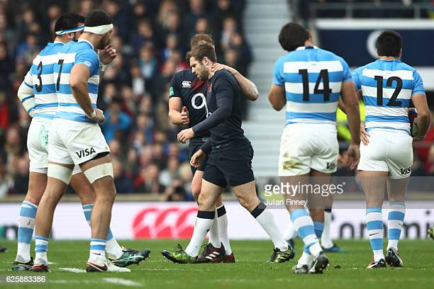 Elliot Daly of England leaves the pitch after he is shown a red card during the Old Mutual Wealth Series match between England and Argentina at...