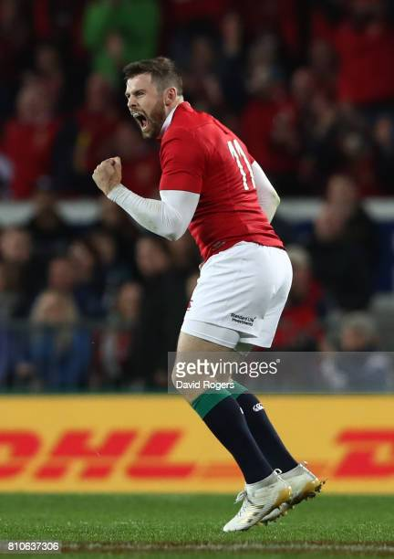 Elliot Daly of the Lions celebrates after kicking a long range penalty during the third test match between the New Zealand All Blacks and the British...