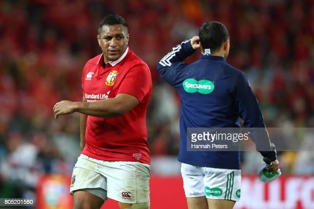Elliot Daly of the Lions is tackled by Ngani Laumape of France during the second test match between the New Zealand All Blacks and the British Irish...