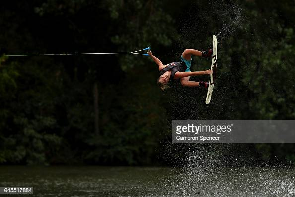 Elliot Digney competes in the NSW Wakeboarding State Titles at Govenor Phillip Park Windsor on February 26 2017 in Sydney Australia