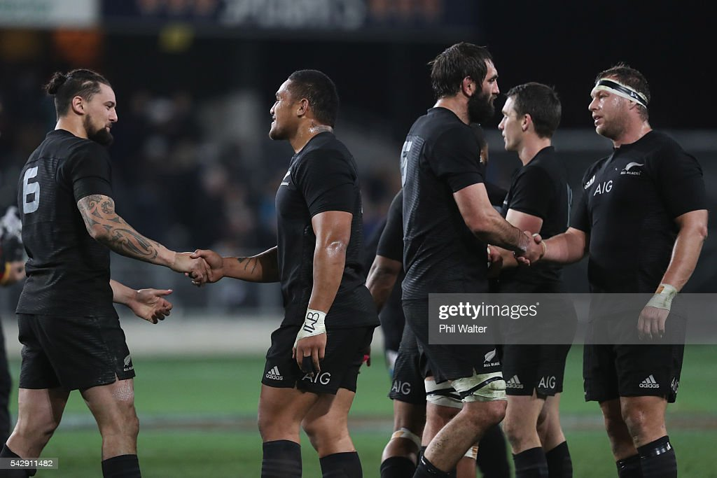 Elliot Dixon (L) and Ofa Tu'ungafasi (C) of the All Blacks during the International Test match between the New Zealand All Blacks and Wales at Forsyth Barr Stadium on June 25, 2016 in Dunedin, New Zealand.