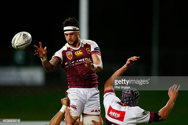 Elliot Dixon of Southland clears the ball from the lineout during the round two ITM Cup match between North Harbour and Southland at QBE Stadium on...