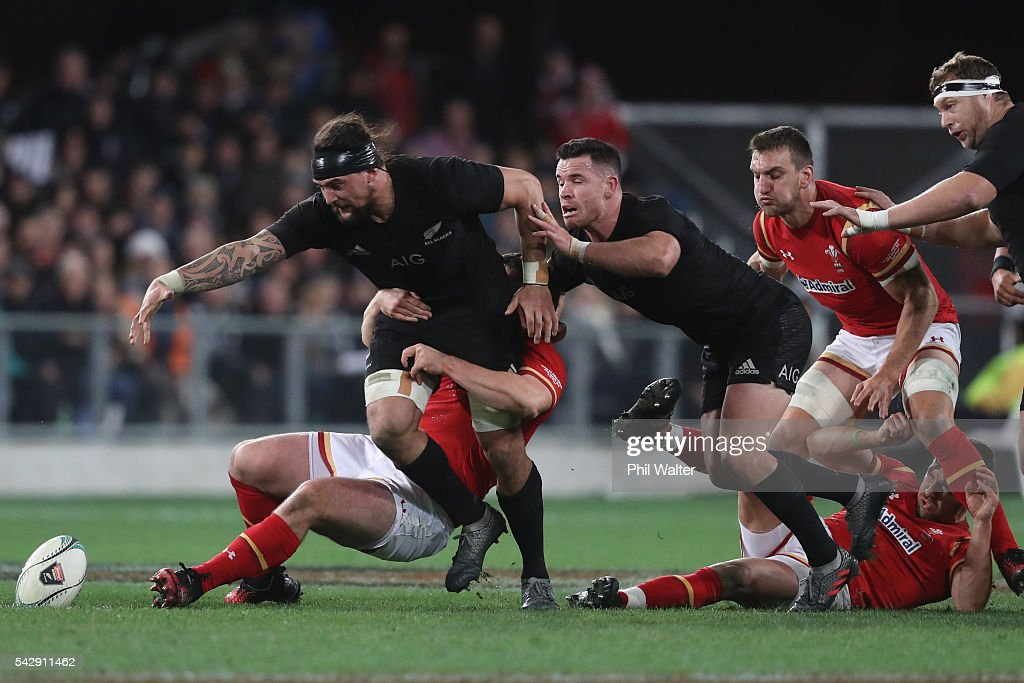 Elliot Dixon of the All Blacks looses the ball during the International Test match between the New Zealand All Blacks and Wales at Forsyth Barr Stadium on June 25, 2016 in Dunedin, New Zealand.