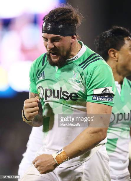 Elliot Dixon of the Highlanders celebrates victory in the round five Super Rugby match between the Brumbies and the Highlanders at GIO Stadium on...