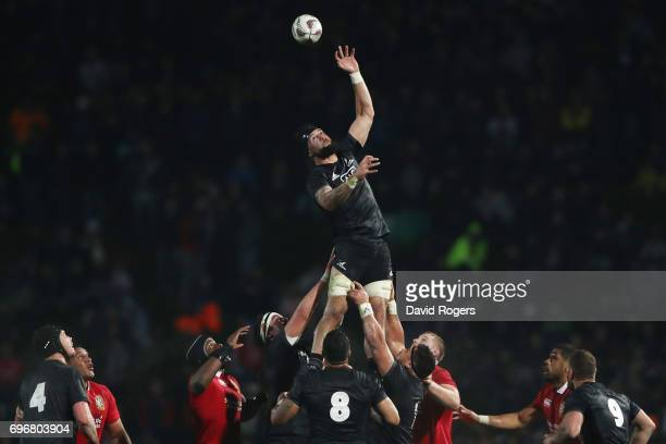 Elliot Dixon of the Maori All Blacks wins lineout ball during the 2017 British Irish Lions tour match between the Maori All Blacks and the British...
