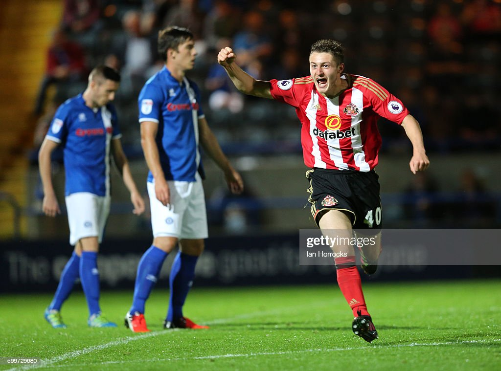 Elliot Embleton of Sunderland (R) celebrates after he scores the opening goal during the U-23 EFL Checkertrade Trophy Group F match between Rochdale and Sunderland U23 at Spotland Stadium on September 6, 2016 in Rochdale, England.