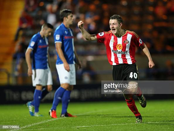 Elliot Embleton of Sunderland celebrates after he scores the opening goal during the U23 EFL Checkertrade Trophy Group F match between Rochdale and...