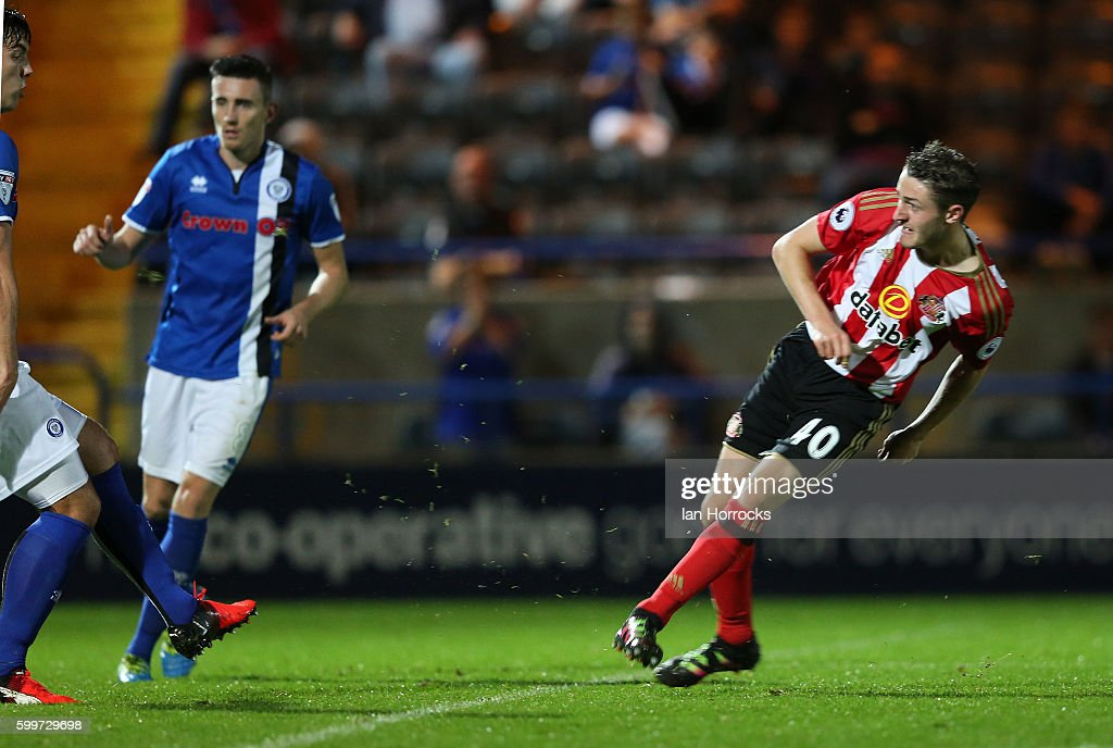 Elliot Embleton of Sunderland scores the opening goal during the U-23 EFL Checkertrade Trophy Group F match between Rochdale and Sunderland U23 at Spotland Stadium on September 6, 2016 in Rochdale, England.