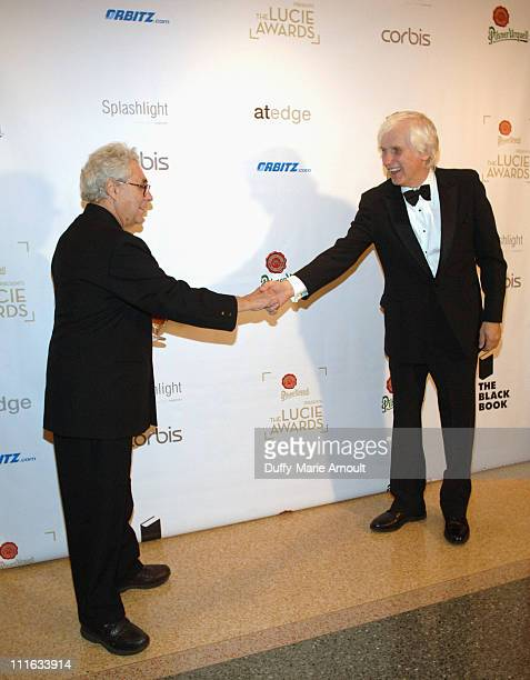 Elliot Erwitt and Douglas Kirkland during 4th Annual Lucie Awards at American Airlines Theatre in New York City New York United States