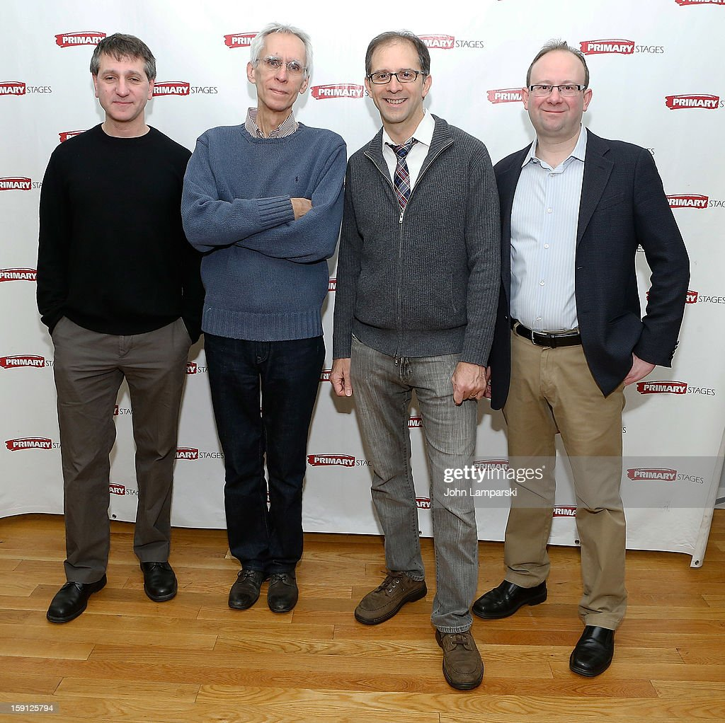 Elliot Fox, Playwright David Ives, Director John Rando and artistic Director Andrew Lynse attends\ the 'All In The Timing' Press Preview at Primary Stages Rehearsal Studio on January 8, 2013 in New York City.