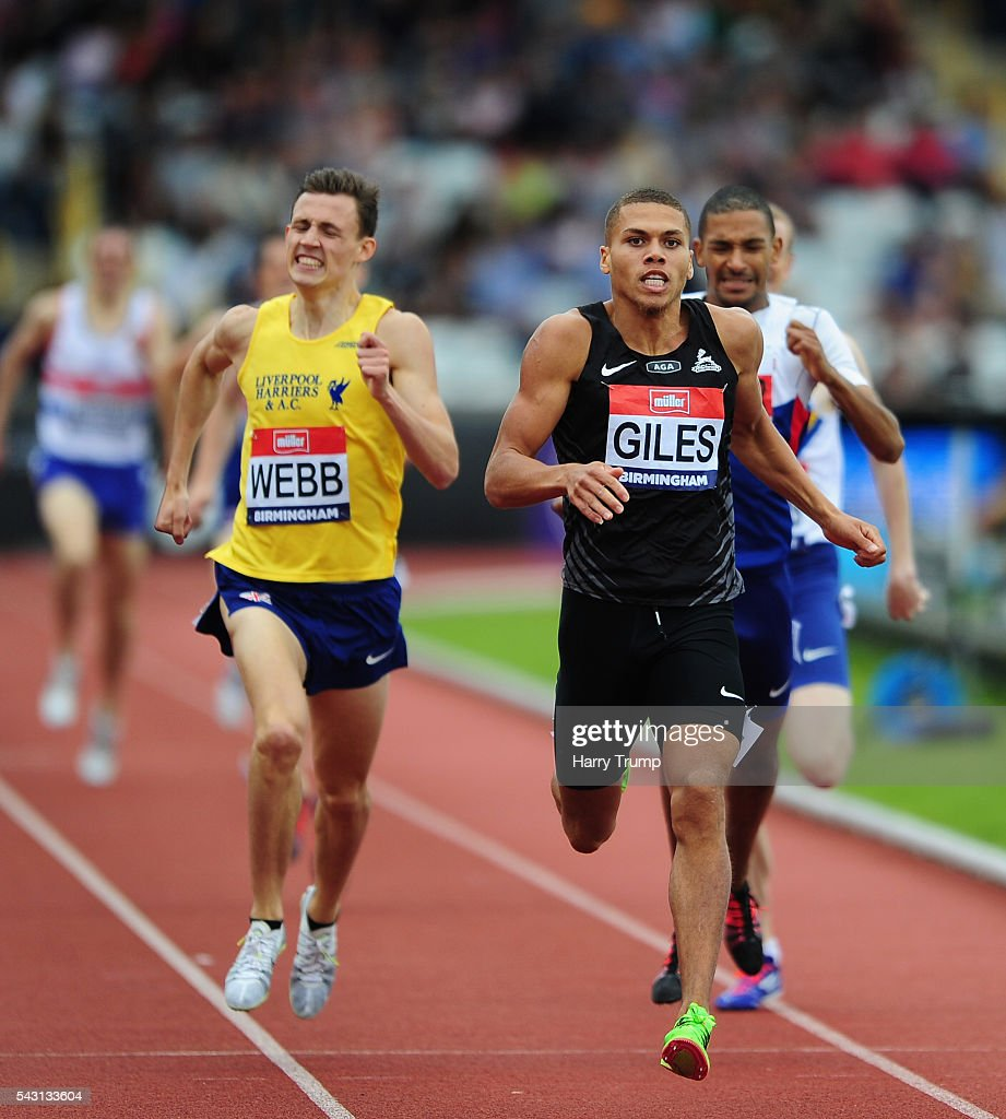 Elliot Giles(R) makes his way through the field on his way to victory in the Mens 800 Metres Final during Day Three of the British Championships at Birmingham Alexander Stadium on June 26, 2016 in Birmingham, England.