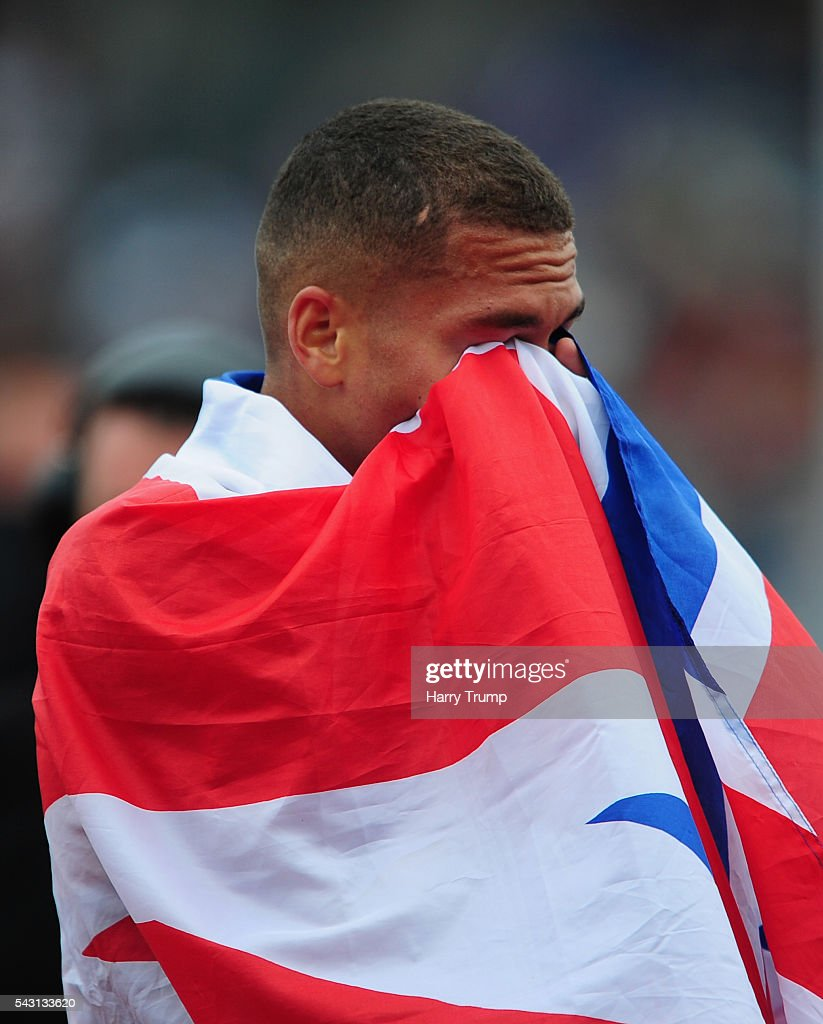 Elliot Giles reacts after victory in the Mens 800 Metres Final during Day Three of the British Championships at Birmingham Alexander Stadium on June 26, 2016 in Birmingham, England.