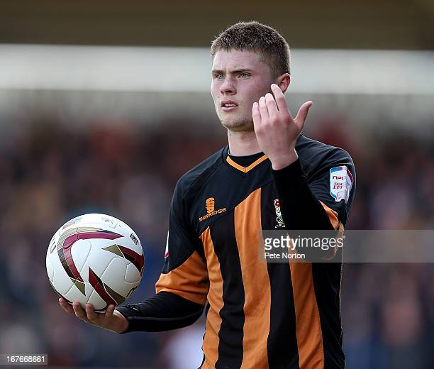 Elliot Johnson of Barnet in action during the npower league Two match between Northampton Town and Barnet at Sixfields Stadium on April 27 2013 in...