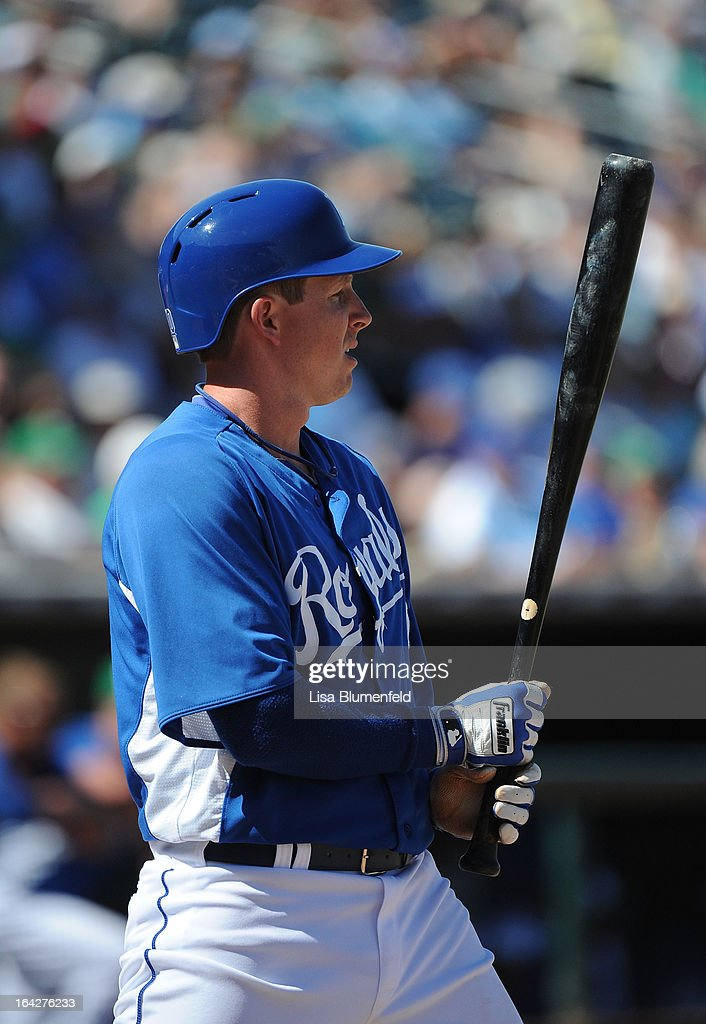 Elliot Johnson #80 of the Kansas City Royals bats against the Chicago White Sox at Surprise Stadium on March 17, 2013 in Surprise, Arizona.