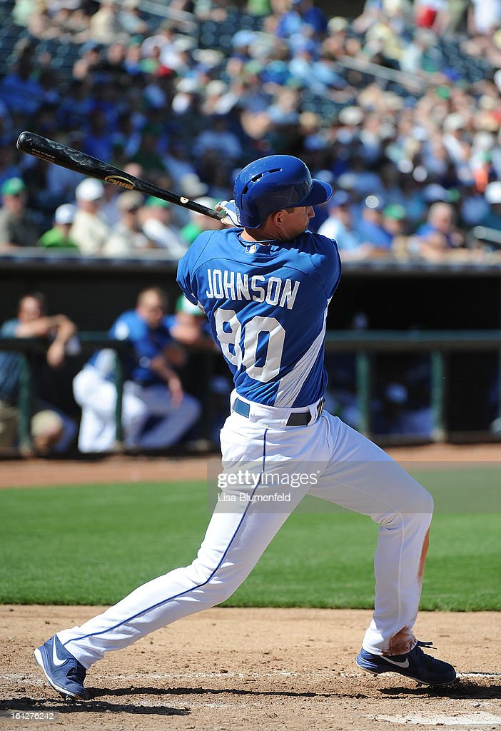 <a gi-track='captionPersonalityLinkClicked' href=/galleries/search?phrase=Elliot+Johnson&family=editorial&specificpeople=4175454 ng-click='$event.stopPropagation()'>Elliot Johnson</a> #80 of the Kansas City Royals bats against the Chicago White Sox at Surprise Stadium on March 17, 2013 in Surprise, Arizona.