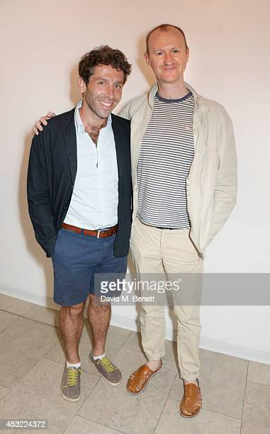 Elliot Levey and Mark Gatiss attend an after party following the press night performance of 'My Night With Reg' playing at The Donmar Warehouse at...