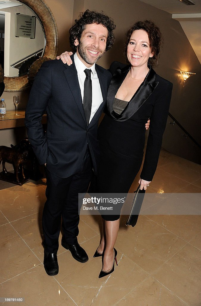 Elliot Levey (L) and Olivia Colman attend an after party following the London Critics Circle Film Awards at Quince Restaurant, The May Fair Hotel on January 20, 2013 in London, England.