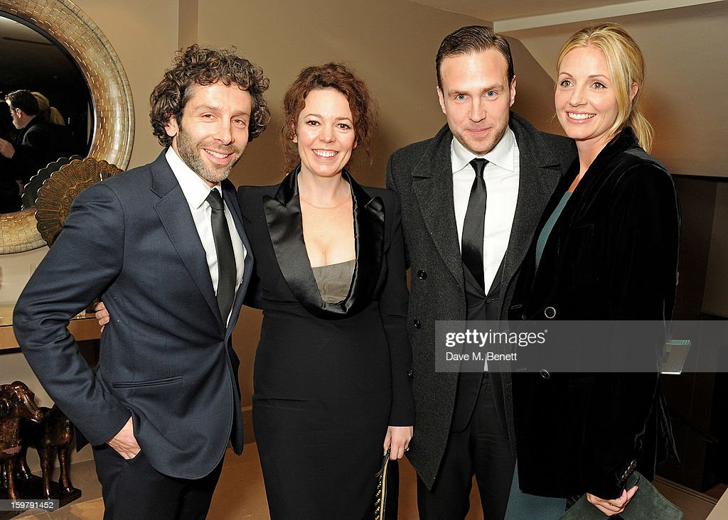 Elliot Levey, Olivia Colman, Rafe Spall and Elize Du Toit attend an after party following the London Critics Circle Film Awards at Quince Restaurant, The May Fair Hotel on January 20, 2013 in London, England.