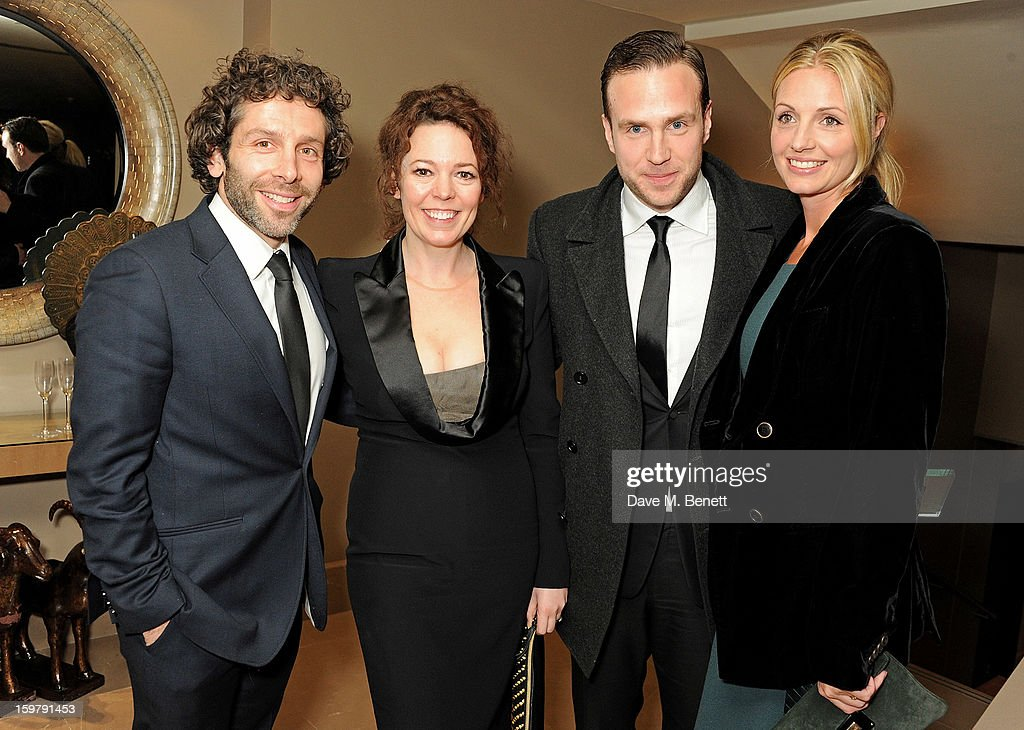 Elliot Levey, Olivia Colman, Rafe Spall and <a gi-track='captionPersonalityLinkClicked' href=/galleries/search?phrase=Elize+Du+Toit&family=editorial&specificpeople=210544 ng-click='$event.stopPropagation()'>Elize Du Toit</a> attend an after party following the London Critics Circle Film Awards at Quince Restaurant, The May Fair Hotel on January 20, 2013 in London, England.