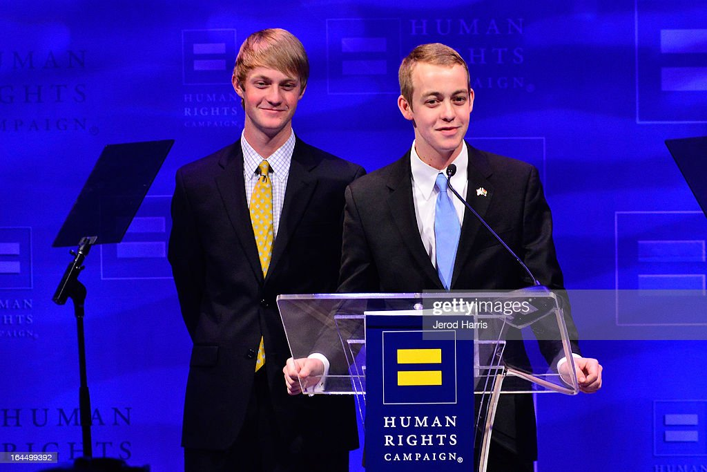 Elliot Perry and Spencer Perry speak at Human Rights Campaign dinner gala at the JW Marriott at L.A. LIVE on March 23, 2013 in Los Angeles, California.
